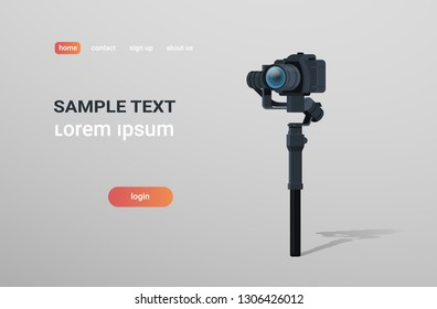 motorized gimbal stabilizer for DSLR mirrorless cameras anti shake tool record video scene concept gray background horizontal copy space flat