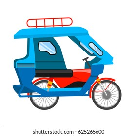 Motorized tricycle. Vector flat illustration.