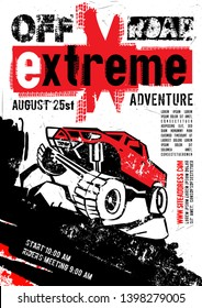 Motorsport event poster. Extreme off-road adventure. Grunge style. Vertical vector illustration with unique lettering in white, red and black colors useful for advert, print, flayer design.