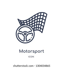 motorsport icon from transport outline collection. Thin line motorsport icon isolated on white background.