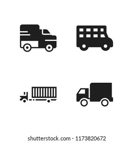 motorway icon. 4 motorway vector icons set. lorry, truck and transportation truck icons for web and design about motorway theme