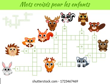 Mots croisés pour les enfants - Crossword for kids. Crossword game with pictures. Kids activity worksheet colorful printable version. Educational game for study French words. Vector stock illustration