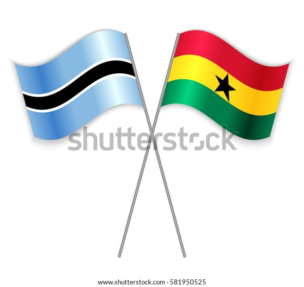 Motswana and Ghanaian crossed flags. Botswana combined with Ghana isolated on white. Language learning, international business or travel concept.