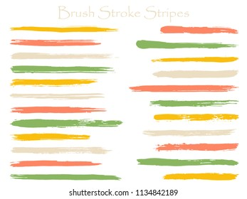Mottled ink brush stroke stripes vector set, green horizontal marker or paintbrush lines patch. Hand drawn watercolor paint brushes, smudge strokes collection. Interior paint color palette swatches.