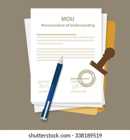 mou memorandum of understanding legal document agreement stamp seal