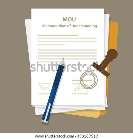 Mou Memorandum Understanding Legal Document Agreement Stock Vector - Legal agreement