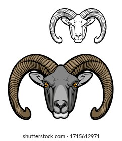 Mouflon sheep wild animal muzzle, vector hunter club icon. Hunting sport and hunt adventure, wild mouflon buffalo ram with curved horns, zoo symbol