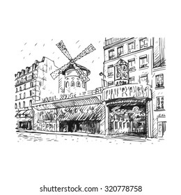The Moulin Rouge, Paris, France. Hand drawn vector illustration.