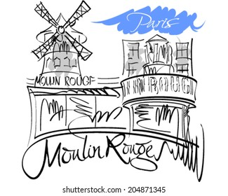 Moulin Rouge vector illustration