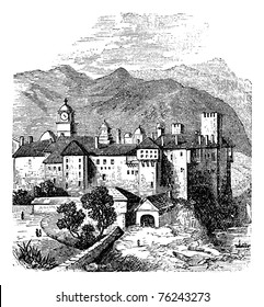 Mount Athos, the Holy Mountain, Akto, Acte or Akte, Macedonia, Greece. Vintage engraving. Old engraved illustration of Mount Athos. It is a mountain and peninsula in Macedonia, Greece.