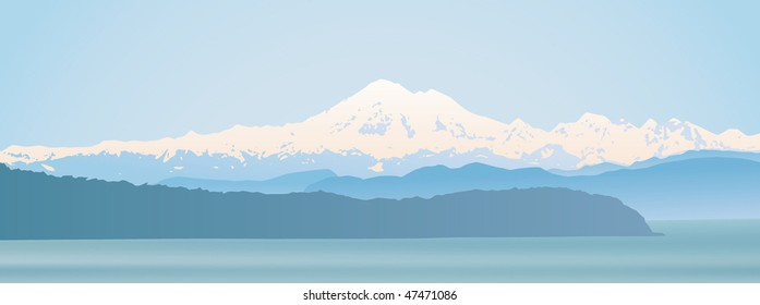Mount Baker, Washington State panoramic. Looking over the straight from Vancouver Island.