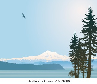 Mount Baker Washington State vector illustration. Looking over the straight from Vancouver Island.