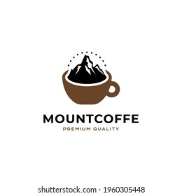 Mount Coffee logo vector icon illustration hipster style for your business