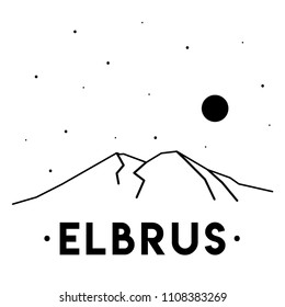 Mount Elbrus. Vector black and white illustration of mountains in Russia. Print design. Nature.