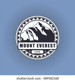 Mount Everest, mountain symbol, abstract patch, with name, and height in meters, vector illustration