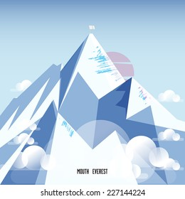 Mount Everest. snow mountain - vector illustration