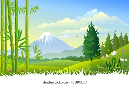 Mount Fuji And Bamboo trees