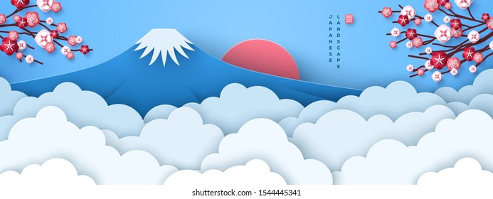 Mount Fuji at dawn. Japanese greeting card or banner with sakura tree branches and paper cut clouds or fog. Happy New Year 2020. Vector illustration.