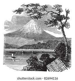 Mount Fuji in Japan, during the 1890s, vintage engraving. Old engraved illustration of Mount Fuji, with Lake Kawaguchi and trees in front. Trousset encyclopedia (1886 - 1891).