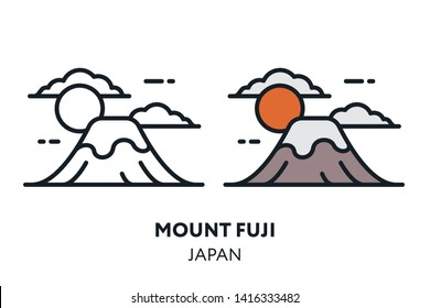 Mount Fuji Japan Landmark Sight. Vector Flat Line Icon Illustration.