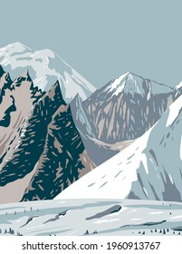 Mount Hunt Mount Huntington and Mount Dickey of the Alaska Range near Denali National Park WPA Poster Art