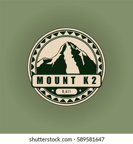 Mount K2, mountain symbol, abstract patch, with name, and height in meters, vector illustration