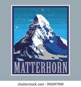 Mount Matterhorn (Monte Cervino) - peak in the Alps, mountain adventure background, vector illustration