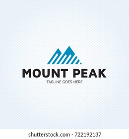 Mount Peak logo design template. Vector high mountain logotype illustration. Graphic geometric rock icon for travel company, extreme sports, expedition. Strip alpine climbing label with snow hill.