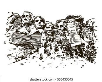 Mount Rushmore ink sketch
