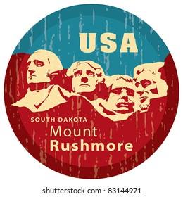 Mount Rushmore National Memorial, EPS 8, CMYK. USA landmark, Shrine of Democracy. South Dakota.