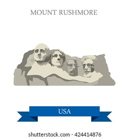 Mount Rushmore National Memorial South Dakota United States. Flat cartoon style historic sight showplace attraction web site vector illustration. World travel sightseeing North America USA collection.
