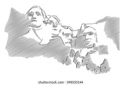 Mount Rushmore Sculpture Sketched Vector Illustration, Grey Shaded Version