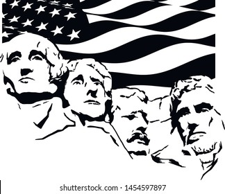 Mount Rushmore silhouette Independence Day Flag Vector EPS