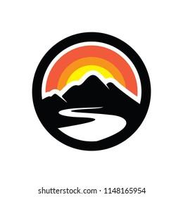 Mount and Sun Logo Design Inspiration Vector