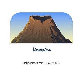 Mount Vesuvius in Italy. Active volcano. Peaks and landscape early in a daylight. travel or camping, climbing. Outdoor hill tops.