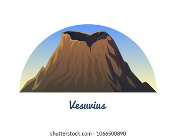 Mount Vesuvius. Peaks, landscape early in a daylight. travel or camping, climbing. Outdoor hill tops.