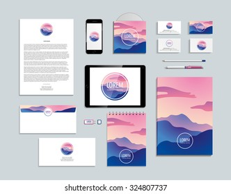 Mountain abstract geometrical Identity and logotype mockup, notebook, touchpad, smartphone, a4, folder, paper, blank, corporate, envelope, document, tablet. Blue and pink colors. Winter sunrise.