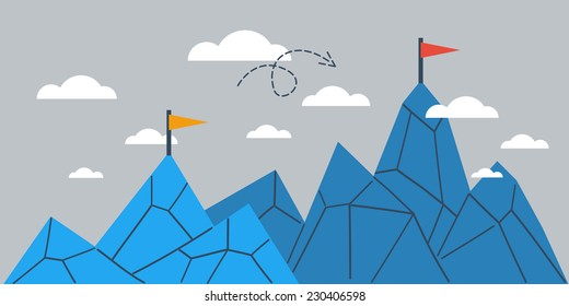 Mountain of achievement, big success, growth comparison, upgrade vector illustration