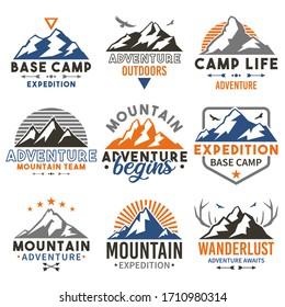 Mountain Adventure badge travel sets. Vector emblem expedition seals. Base camp hill vintage style. Stamp outdoors logo design.