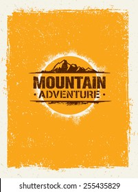 Mountain Adventure. Creative Vector Outdoor Concept on Grunge Background
