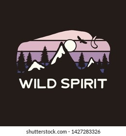 Mountain Adventure Graphic for T-Shirt, prints. Vintage hand drawn buffalo camp emblem. Retro summer winter travel scene, unusual badge. Wild Spirit Typography Label. Stock vector.