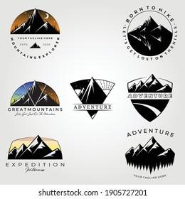 mountain adventure icon sticker logo vector set illustration design , bundle logo icon symbol sticker