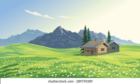 Mountain alpine landscape with houses.