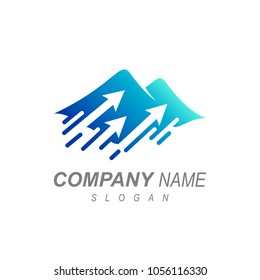Mountain With Arrow Logo Template