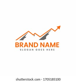 mountain and arrow for marketing  finance accounting advisor logo design vector