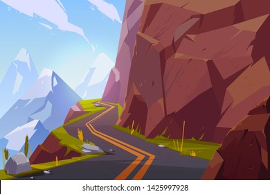 Mountain asphalt road, curly winding empty highway in rocky summer time countryside landscape. Speedway serpentine travel scenic background with hills and blue cloudy sky. Cartoon vector illustration