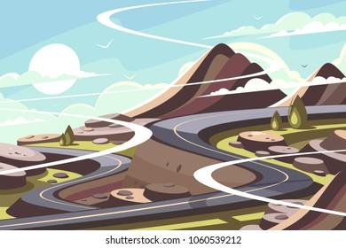 Mountain asphalt road serpentine. Landscape of transport infrastructure. Vector illustration