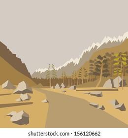 Mountain background, vector illustration