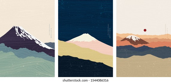 Mountain background with wood texture vector. Abstract pattern in Asian style. Fuji mountain in Cloud. Japanese template. Oriental poster design.