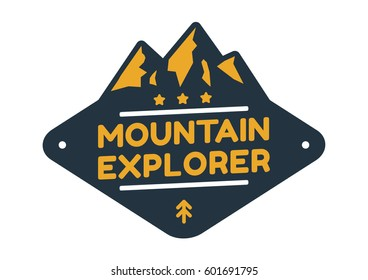 Mountain badge with text Mountain explorer. Isolated graphic in white background